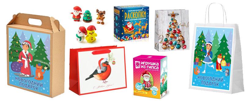 Подарочные наборы на Новый Год в коробках (в сад и школу)