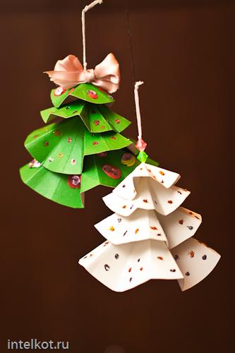 Новогодние подвески из бумаги своими руками