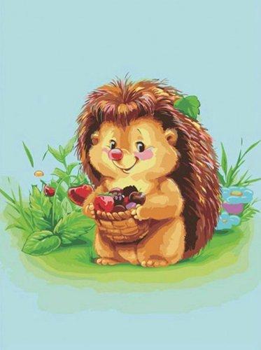 Детская картина по номерам «Ежик с лукошком»