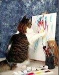 Кот рисует лапками