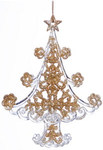 Золотистая прозрачная елочка. Новогоднее интерьерное украшение