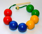"""Бусы """"Цветные шары"""". Игрушка-шнуровка из дерева"""