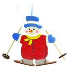 Снеговик-лыжник. Подвесная фигурка из дерева