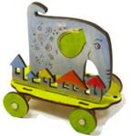 Слон. Деревянная покатушка ручной работы. Сборная модель