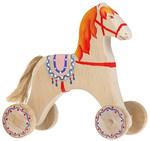 Лошадка с седлом. Расписанная вручную каталка для детей