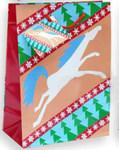 Маленький подарочный новогодний пакет из ламинированной бумаги 11,1х13,7х6,2 см