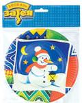 """Набор бумажных тарелок """"Снеговик"""". 6 штук"""