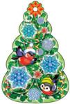Новогодняя елочка. Фигурная мини открытка-подвеска