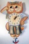 Кот-моряк. Настенные часы из дерева. Авторская роспись