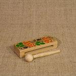 Коробочка расписная. Деревянный русский народный музыкальный инструмент