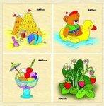 Лето. Разрезные картинки. 4 пазла для малышей