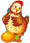 Курочка Ряба с золотым яичком. Фигурный плакат с блестками