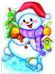 Снеговичок. Плакат-вырубка с блестками