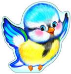 Синичка. Красочный фигурный плакат с глиттером