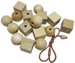Геометрические бусы. Неокрашенная деревянная шнуровка