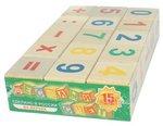 Веселый счет. 15 деревянных кубиков с цифрами и знаками