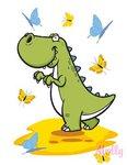 Динозаврик с бабочками. Раскраска по номерам для детей