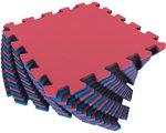 Красно-синий универсальный мягкий пол. 16 деталей 25х25 см