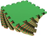 Универсальный мягкий пол. Оранжево-зеленый. 16 деталей 25х25 см