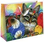 Котик с клубочками. Подарочный пакет 23х18х10 см
