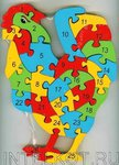 Петушок. Развивающий двухсторонний пазл из дерева для обучения счету и английскому языку (26 деталей)