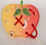Яблоко плоское. Детская деревянная игра-шнуровка