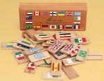 Деревянные карточки с флагами мира. Игра-мемори для развития памяти