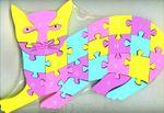Котик. Развивающий двухсторонний пазл из дерева для обучения счету и английскому языку
